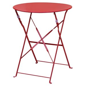 M & T  Table round 59,5 cm foldable red