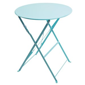 M & T  Table round 59,5 cm foldable seaside blue