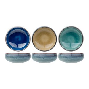 M & T  Set 3 bowls assorted blue, green and sand color