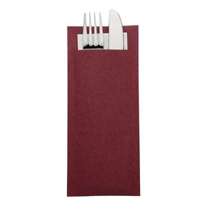 EUROPOCHETTE  Kraft burgundy  cutlery pouch with champagne color napkin box 600 pcs