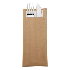 EUROPOCHETTE  Kraft brown cutlery pouch with champagne color napkin box 600 pcs