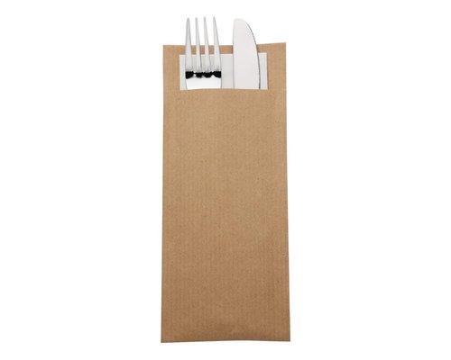 EUROPOCHETTE  Bestekzakje bordeaux kraft papier met champagnekleurig servet  600 stuks