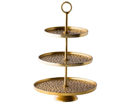 M & T  3 Tier buffet stand gold color