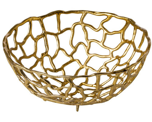 M & T  Basket 38 cm aluminium gold color