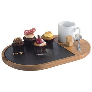 M & T  Serving board with slate insert 28 x 17,5 cm
