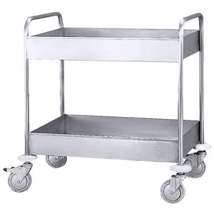 M & T  Clearing trolley with 2 deep shelves