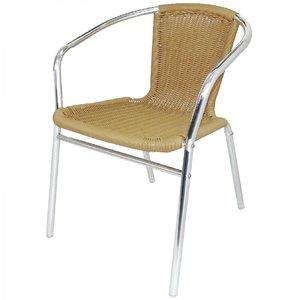 M & T  Aluminium en PE rotan stoel naturel
