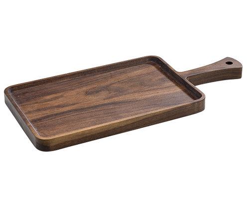 M & T  Dienblad met handvat acacia hout 39 x 18 x 2 cm