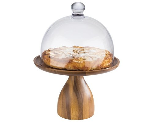 M & T  Cake stand acacia wood  high shape   with polycarbonate cloche