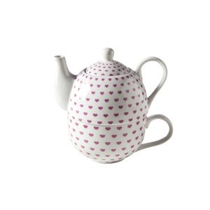 M & T  Teapot 41 cl with cup 34 cl decor pink hearts