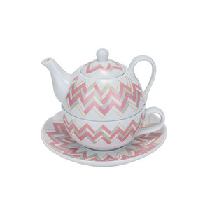 M & T  Teapot 36 cl with cup 30 cl and saucer decor pink & grey