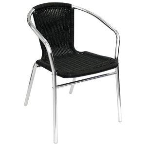 M & T  Wicker Chair black with Aluminium Frame
