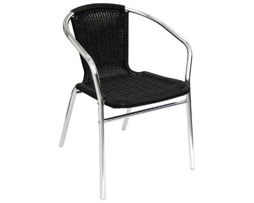 M & T  Aluminium en PE rotan stoel zwart