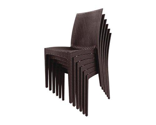 M & T  Bistro side chair brown PP ratan