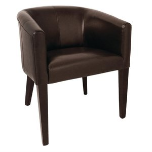 M & T  Tub armchair brown PU leather