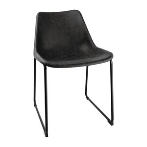 M & T  Side chair with black vintage seat