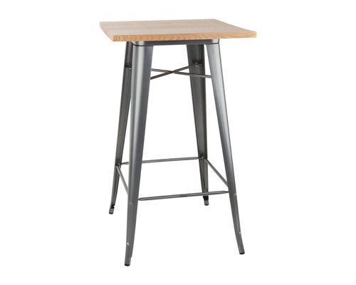M & T  Bar table with wooden top 60 x 60 cm