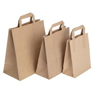 FIESTA GREEN Recycled Brown Paper Carrier Bags small (Pack of 250)