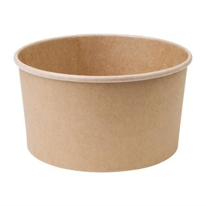 FIESTA GREEN Compostable round kraft salad bowls 1000 ml with clear lid ( box 300 pcs )