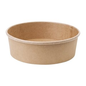 FIESTA GREEN Compostable round kraft salad bowls 75 cl  with clear lid ( box 300 pcs )