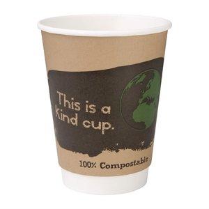 FIESTA GREEN Koffiebeker 35 cl dubbelwandig en composteerbaar( verpakking 500 stuks )