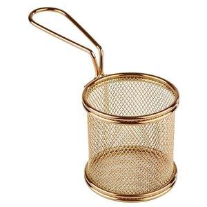 M & T  Frying & serving basket gold color round shape
