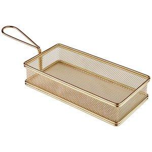 M & T  Friet- snackmandje goudkleurig  rechthoekig  model