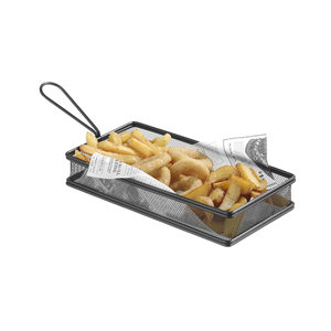 M & T  Frying & serving basket black rectangular shape