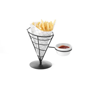 M & T  French fries sachet holder  black frame with sauce  ramekin  8 cl