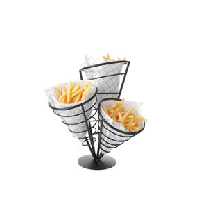 M & T  French fries sachet holder  black frame with 3 cone holders