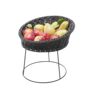 M & T  Buffet basket black PP 31 cm x 12 cm on metal stand