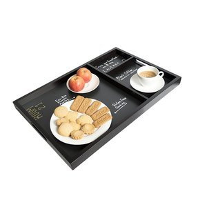 M & T  Serving tray 3 compartiments wood / chalkboard 61 x 40 x 3,8 cm