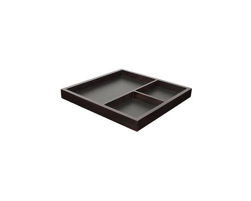 M & T  Dienblad met 3 compartimenten  hout / leisteen 40 x 40 x 3,8 cm