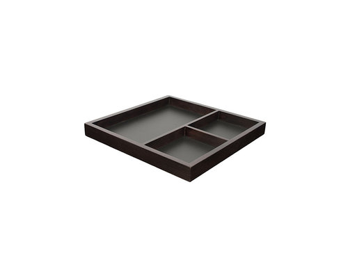 M & T  Serving tray 3 compartiments wood / chalkboard 40 x 40 x 3,8 cm