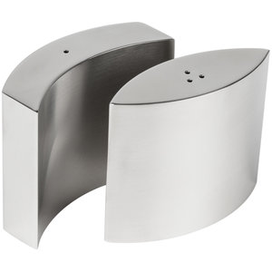 Salt -and pepper shaker set  satin stainless steel embracing  shape