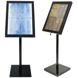 M & T  Menu stand footed 4 x Din A4 with LED lightning