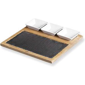 M & T  Leisteen en bamboe bord met 3 keramiek kommetjes voor saus