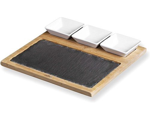 M & T  Slate and bamboo board with 3 ceramic bowls for sauce