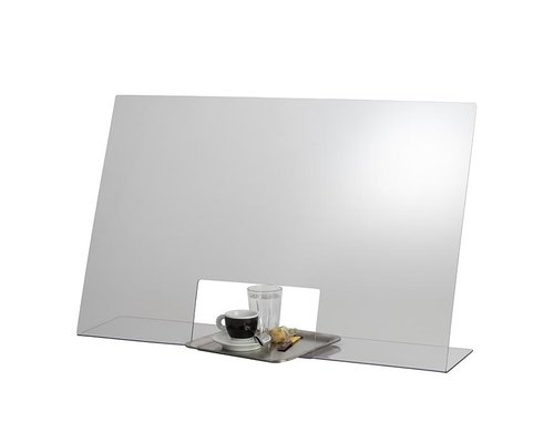 M & T  Beschermend transparant acryl scherm dikte 3 mm  met doorgeef opening