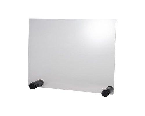 M & T  Beschermend transparant acryl scherm dikte 5 mm op zwart houten anti-slip houders