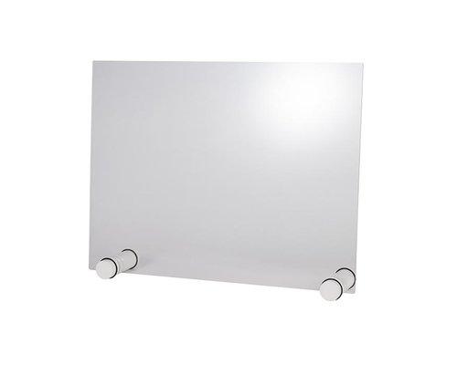 M & T  Beschermend transparant acryl scherm dikte 5 mm op witte houten anti-slip houders