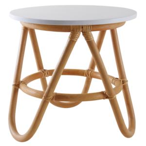 M & T  Naturel rotan tafel met wit blad. Kindermodel.