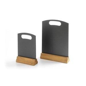 M & T  Krijtbord zwart met houten voet tafelmodel 21 x 5 x h 32 cm groot model