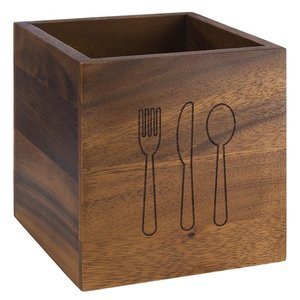M & T  Flatware  bin  natural acacia wood  12 x 12 x h 15 cm  with cutlery logo