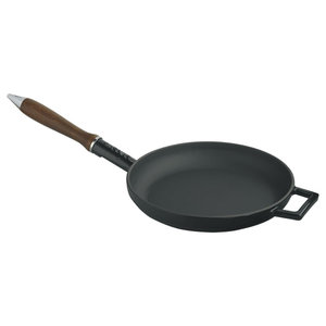 M & T  Braadpan 24 cm zwart obsidian gietijzer met houten handvat