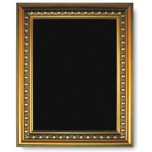 M & T  Krijtbord melamine schrijfbord met vergulde houten lijst 73 x 53 cm