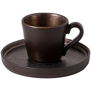 COSTA NOVA  Espresso tas 9 cl  & schotel Lagoa Metal Black