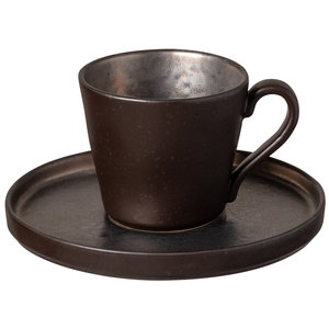 COSTA NOVA  Coffee / tea cup  21 cl & saucer Lagoa Metal Black