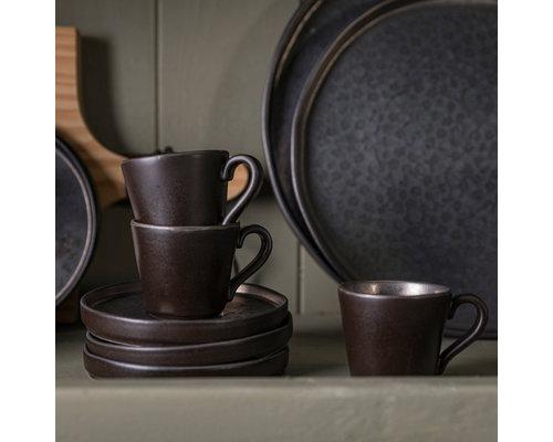 COSTA NOVA  Koffie /thee tas 21 cl & schotel Lagoa Metal Black