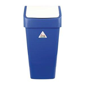 SYR  Afvalbak met schommeldeksel  50 liter wit / blauw
